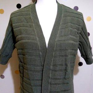 MOSSIMO SHORT SLEEVE TEXTURED STRIPE GREEN CARDI